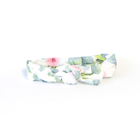 Mucky Duck baby cotton spandex knotted headband white with eucalyptus leaves and pink blossom