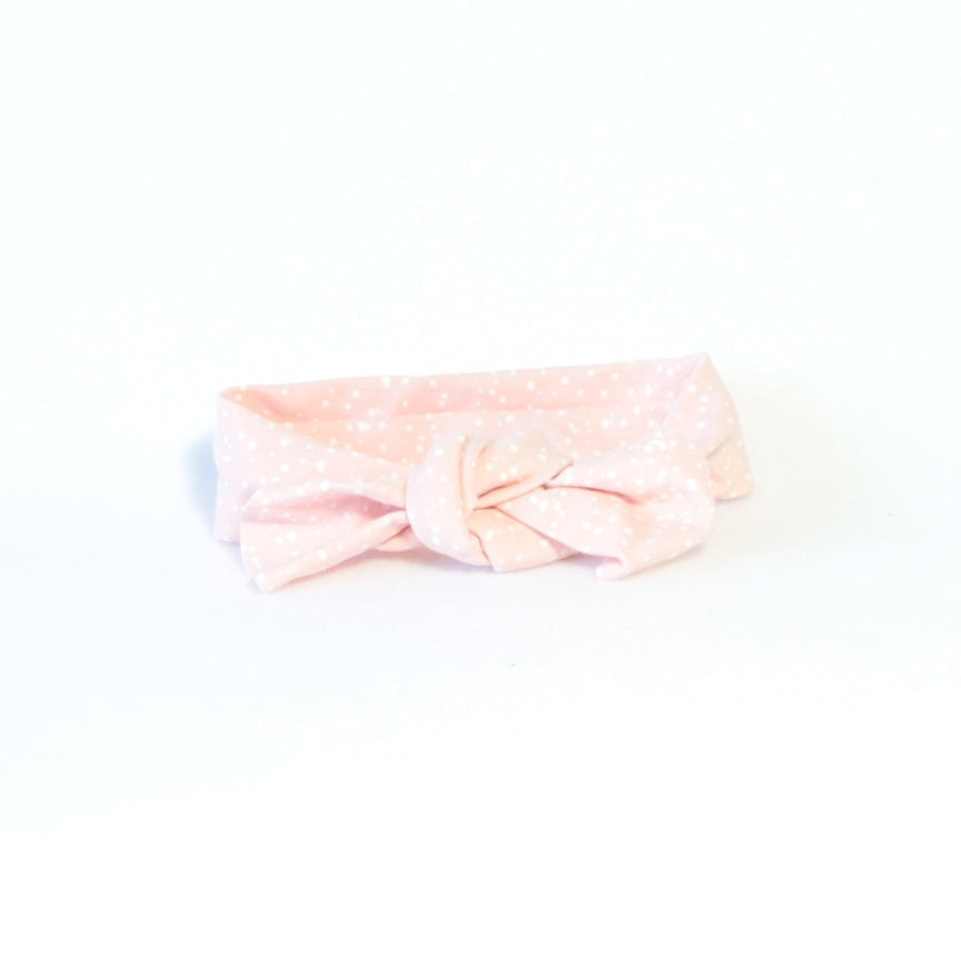 Mucky Duck Crafts pink with white dots stretchy top knot headband