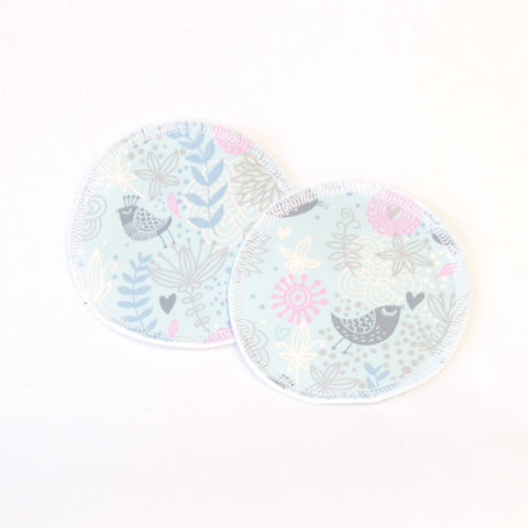 Mucky Duck pale blue birds and flowers eco friendly reusable nursing breast pads
