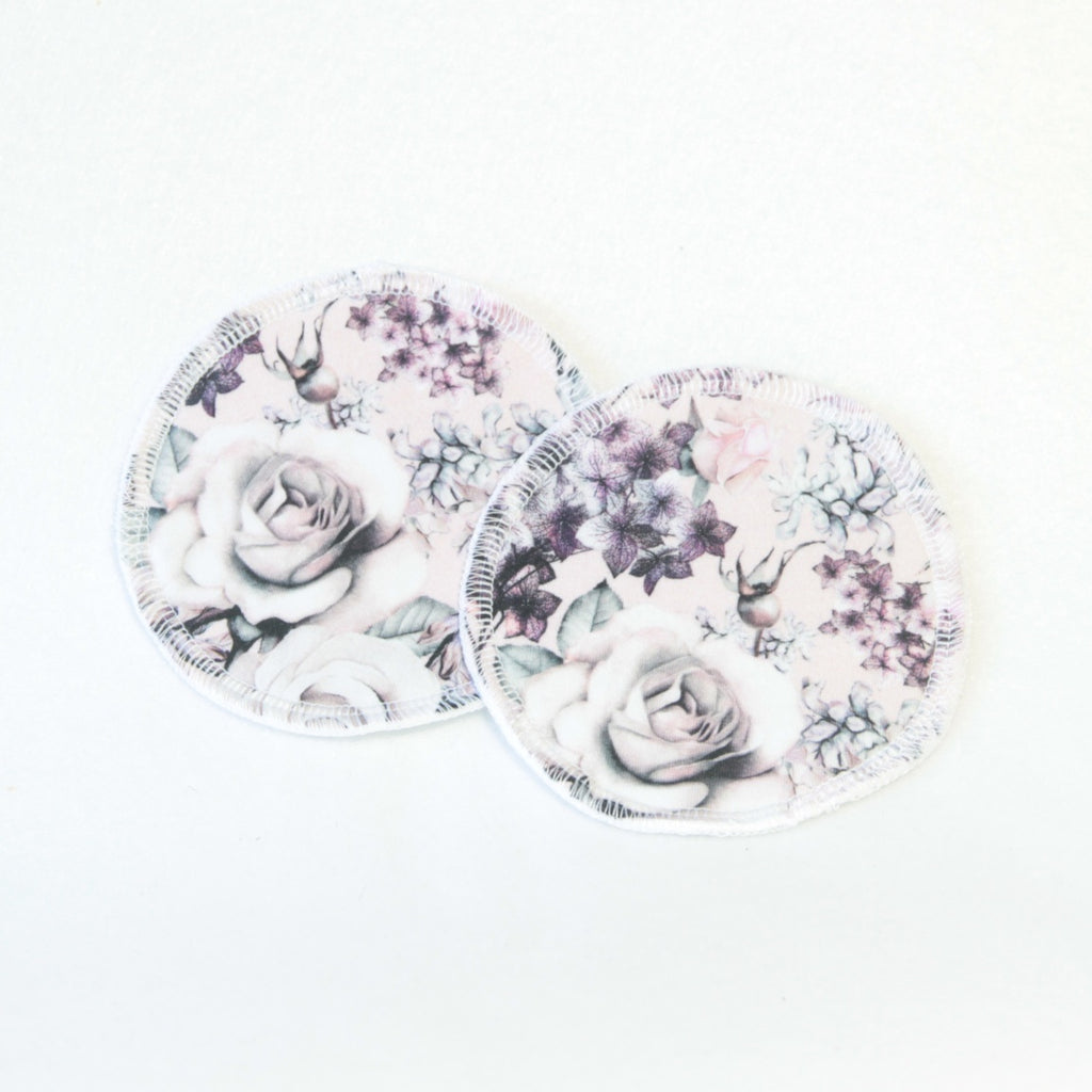Mucky Duck eco friendly reusable nursing breast pads pink and purple hydrangea flowers floral