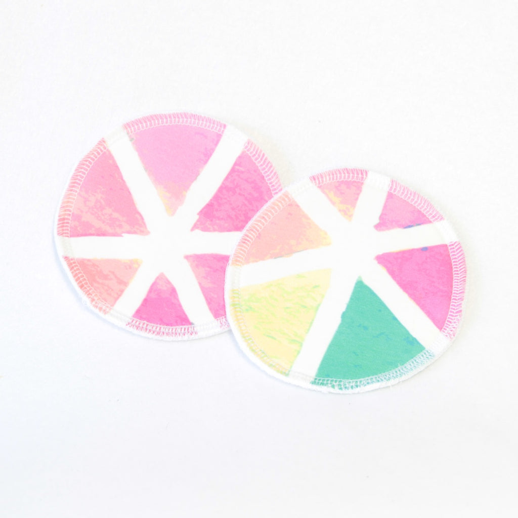 Mucky Duck eco friendly reusable nursing breast pads multicoloured geometric pattern