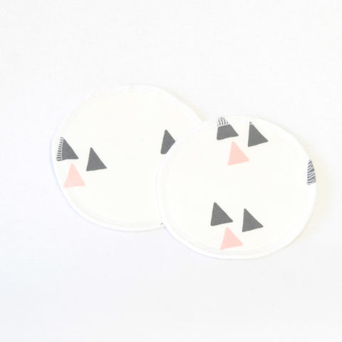 Mucky Duck white with blush charcoal triangles geometric pattern nursing breast pads