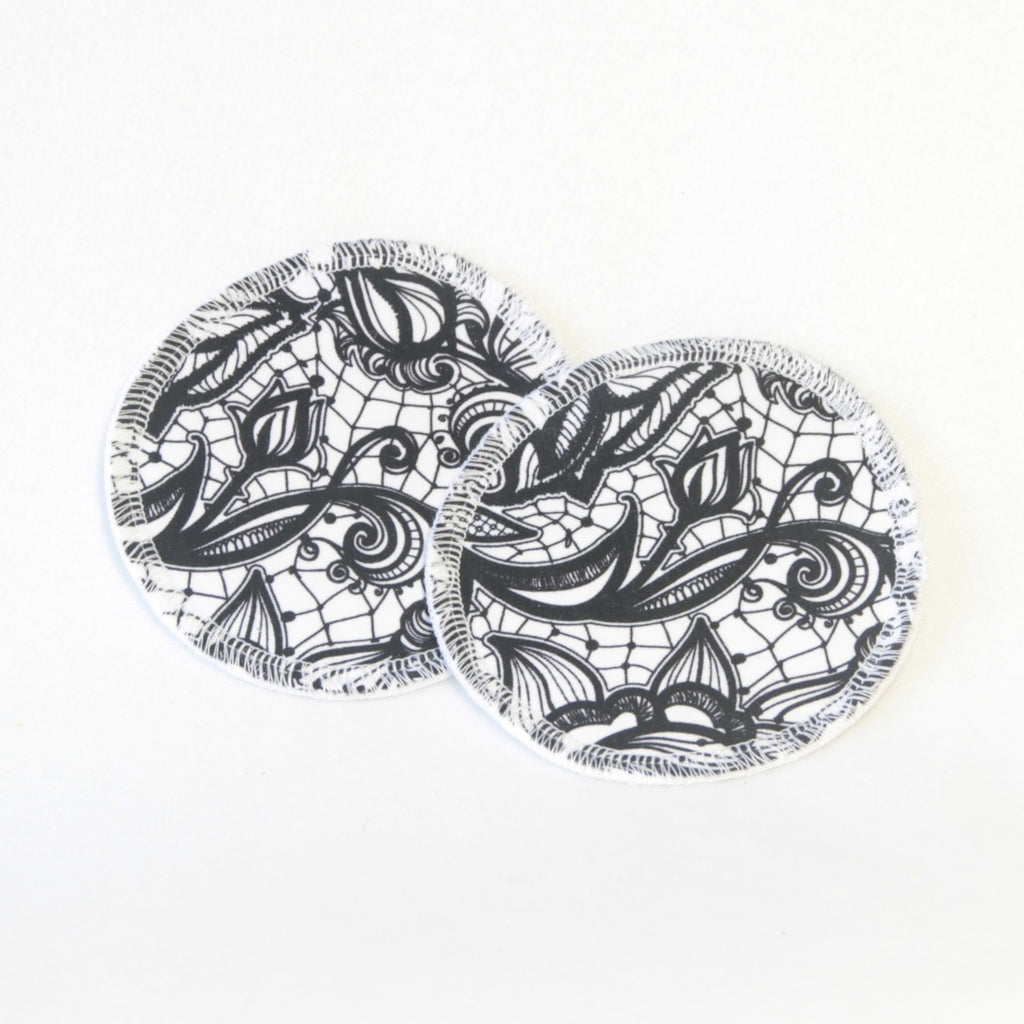 Mucky Duck eco friendly reusable nursing breast pads white with black lace pattern