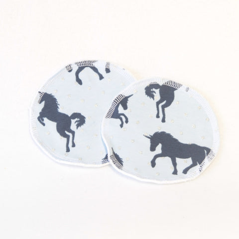 Mucky Duck blue navy unicorn nursing breast pads