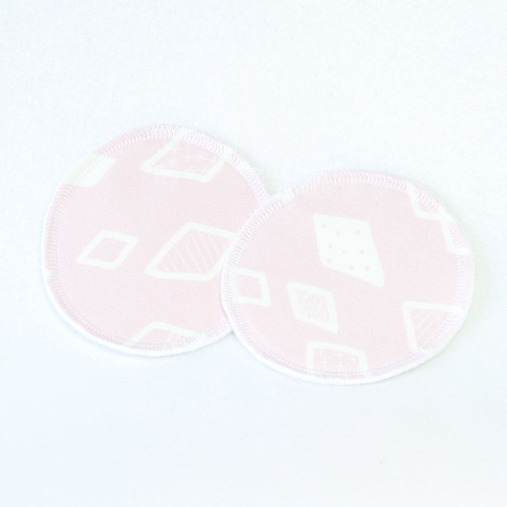 Mucky Duck nursing breast pads pink white geometric pattern