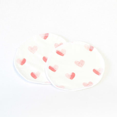 Mucky Duck white with red Love hearts eco friendly reusable nursing breast pads