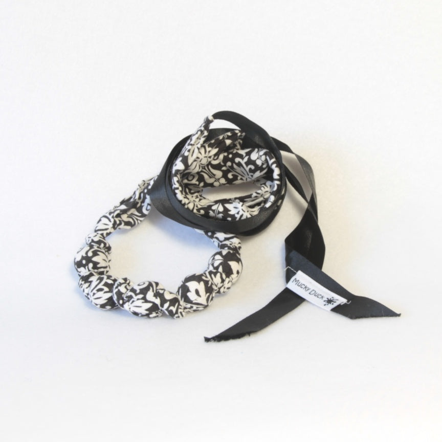 Monochrome black and white patterned fabric necklace