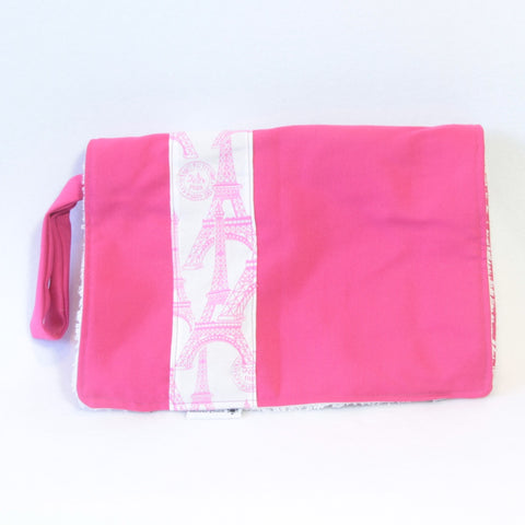 Mucky Duck Crafts Pink and white eiffel tower nappy wallet and change mat set