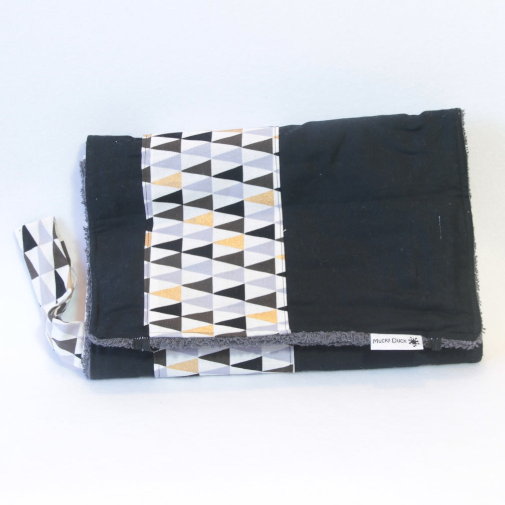 Mucky Duck Crafts nappy wallet and change mat set black with grey and gold triangles