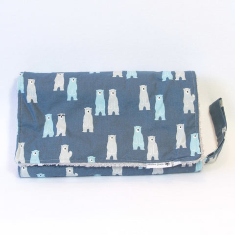 Mucky Duck Crafts nappy wallet and change mat set in blue with aqua and grey bears
