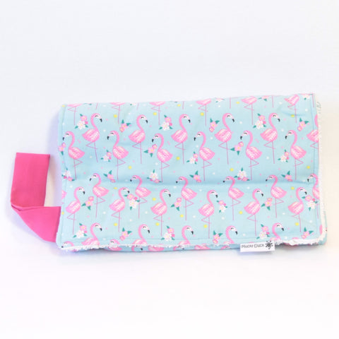 Mucky Duck Crafts blue with pink flamingos nappy wallet and change mat set