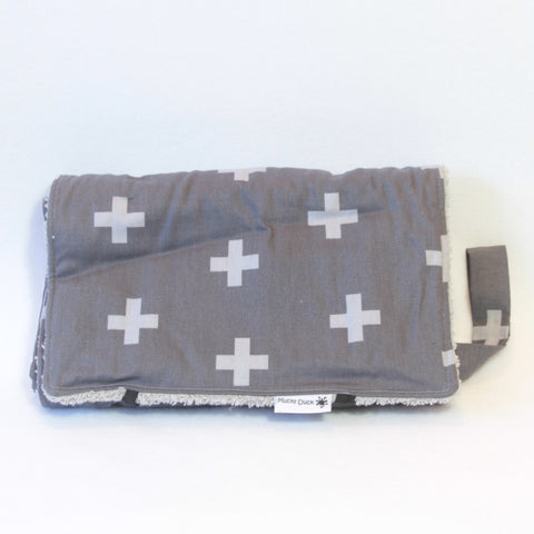Grey Plus Signs Nappy Wallet and Change Mat Set