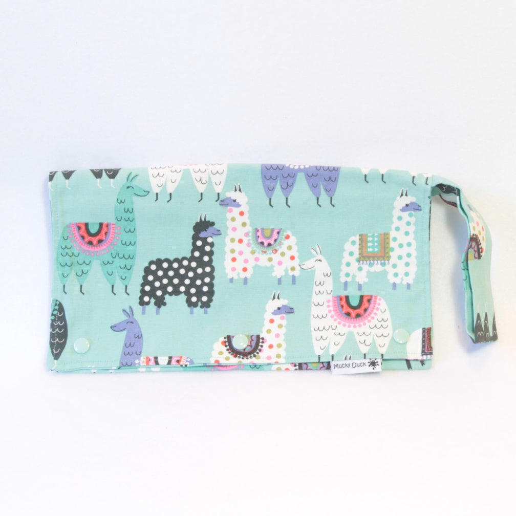 Mucky Duck mint green llamas nappy wallet