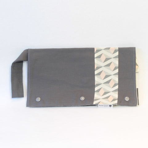 Mucky Duck Grey with White, Pink and Grey Geometric Pattern Nappy Wallet
