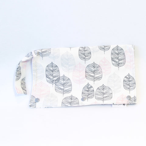 Mucky Duck white with grey pink leaves Nappy Wallet