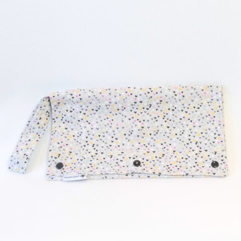 Mucky Duck Grey with multicoloured hearts Nappy Wallet