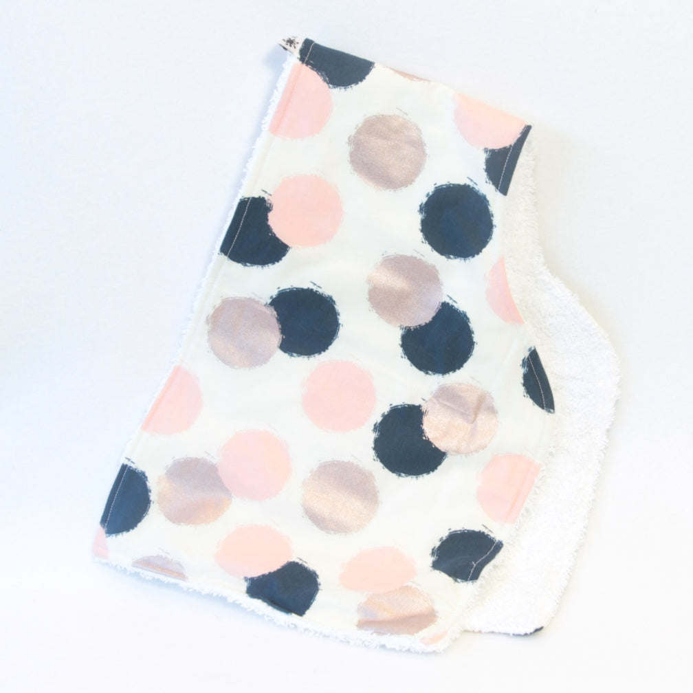 Mucky Duck Crafts contoured burp cloth cream with pink navy and rose gold dots