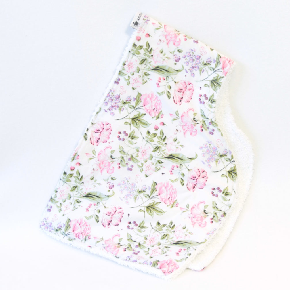 Mucky Duck Crafts white with pink and purple flowers floral burp cloth