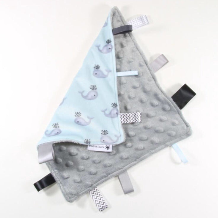 Mucky Duck grey blue whales sensory cloth