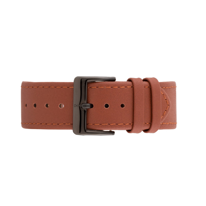 Freebody tan leather watch strap with black buckle