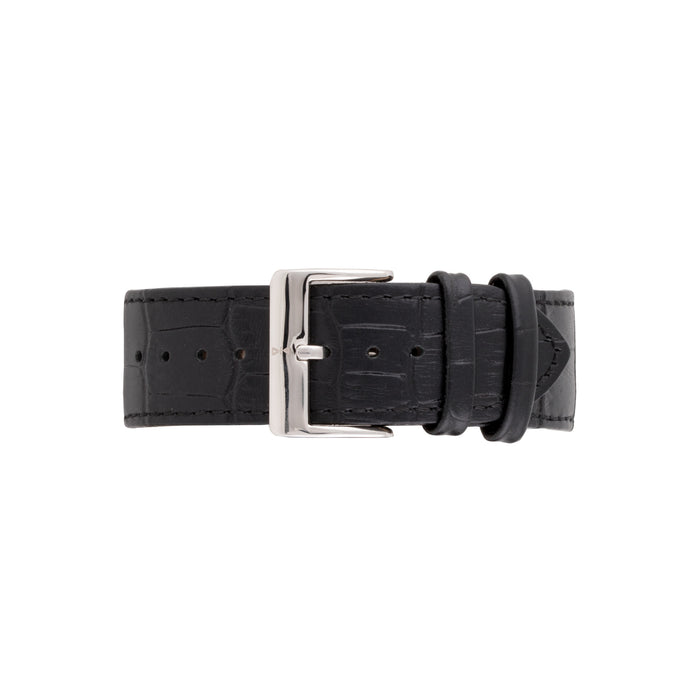 Freebody black crocodile strap with silver buckle