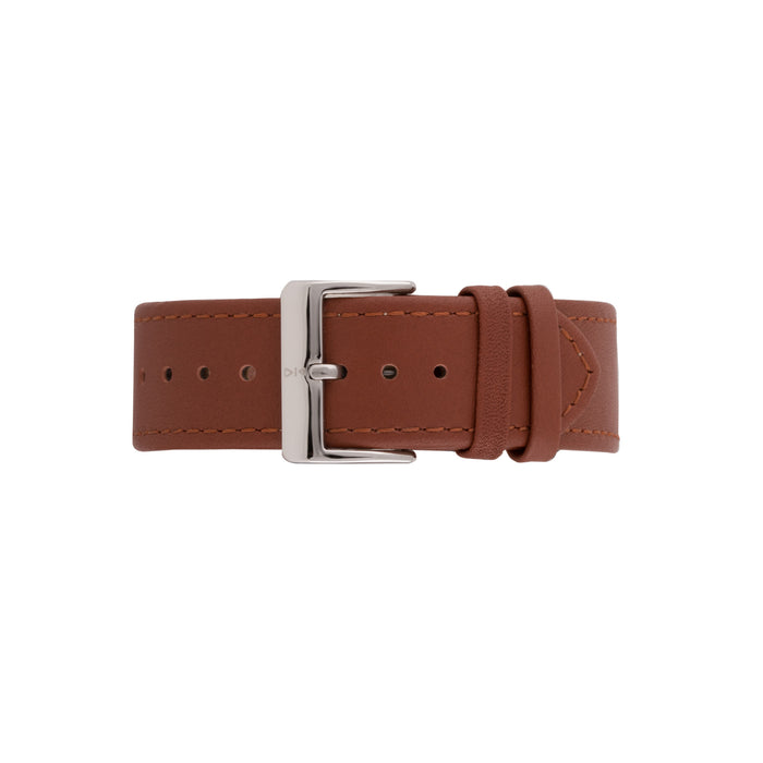 Freebody tan leather watch strap with silver buckle
