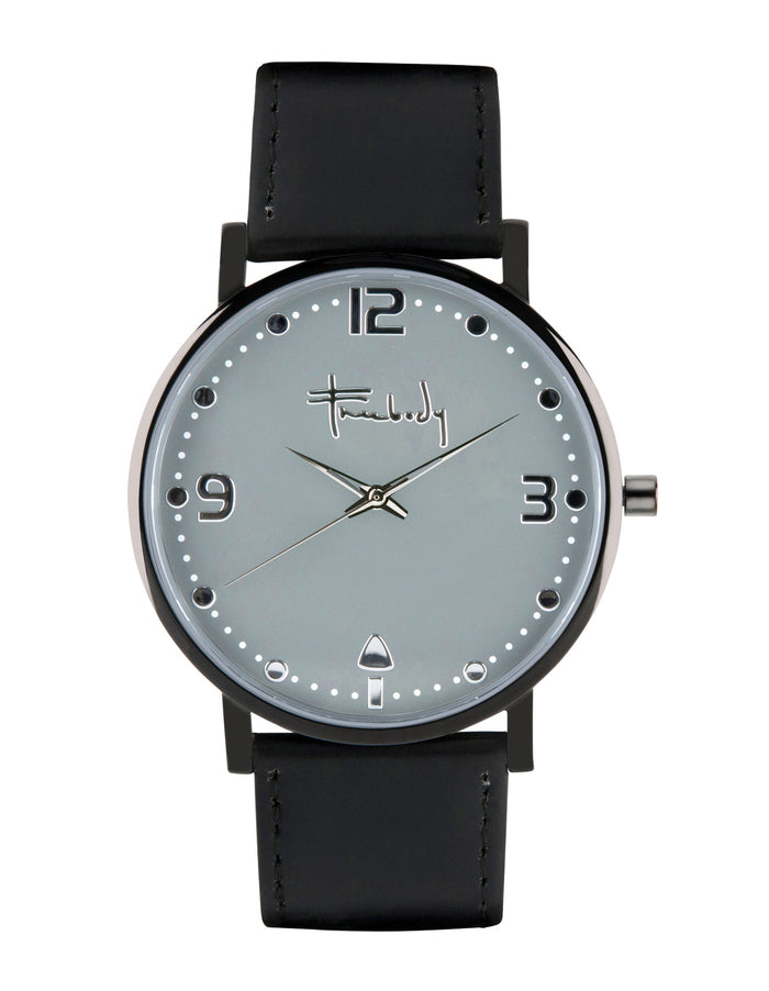 Freebody wynston watch, grey face with black leather strap