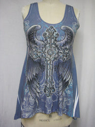 CROSS WING TOP / BLUE - DYE SUBLIMATION - MADE IN USA