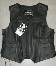 STEALTH LADY / SIDE LACE / LEATHER VEST / BLACK
