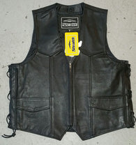 STEALTH MENS LEATHER VEST WITH SIDE LACE