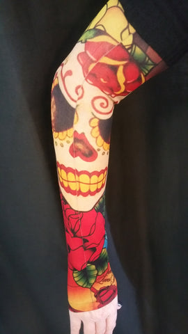 Sugar Skull Roses Red Tattoo Sleeve The Biker Store
