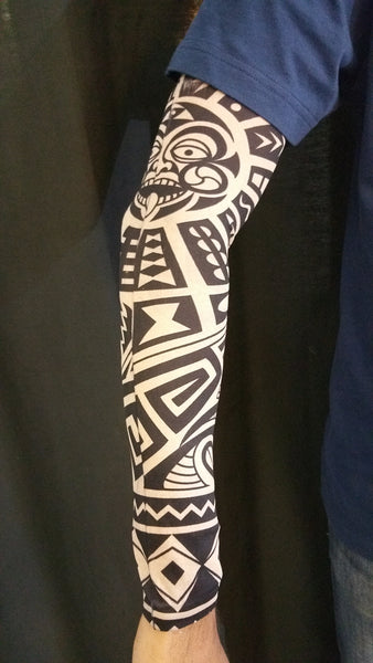 HAKA TONGUE TRIBAL TATTOO SLEEVE