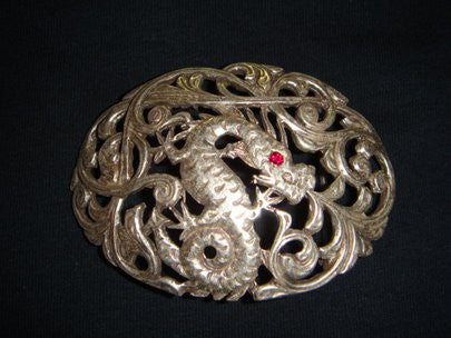 SENDRA BELT BUCKLE DRAGON PLATA PULIDA / RUBI SILVER - MADE IN SPAIN