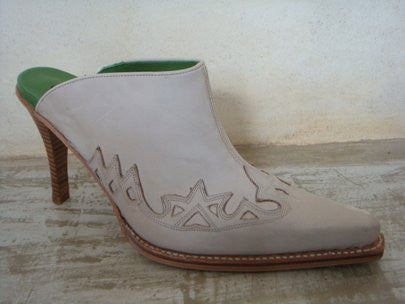 SENDRA BRAVO NOBUK LEATHER / LINEN BEIGE HIGH HEEL EMBROIDED / LIMITED EDITION-MADE IN SPAIN