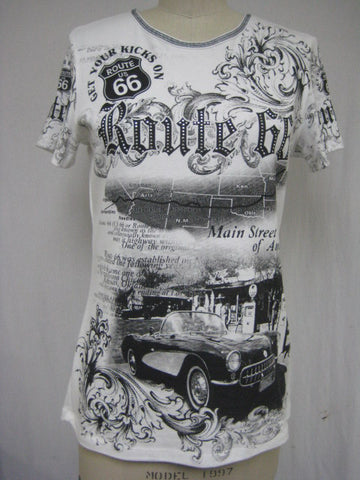 ROUTE 66 / CAR - MADE IN USA - 100%Cotton - Short Sleeve Lady Shirt