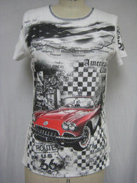 NEW ROUTE 66 / RED CAR - MADE IN USA - 100%Cotton