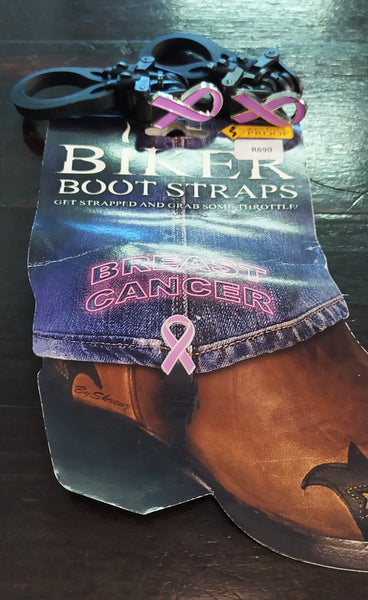 BUNGEE BOOT BREAST CANCER RIBBON - MOTORCYCLE RIDING PANT CLIPS