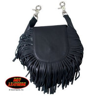 LEATHER  CLIP POUCH WITH FRINGE