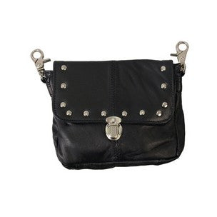 LEATHER CLIP POUCH WITH STUDS