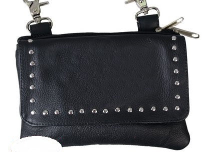 LADIES CLIP POUCH WITH STUDS AND MAGNETIC SNAP - BLACK LAMBSKIN LEATHER