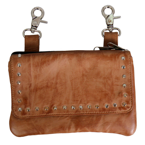 LADIESCLIP POUCH WITH STUDS AND MAGNETIC SNAP - TAN LAMBSKIN LEATHER