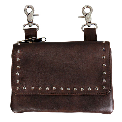 LADIES CLIP POUCH WITH STUDS AND MAGNETIC SNAP - BROWN LAMBSKIN LEATHER