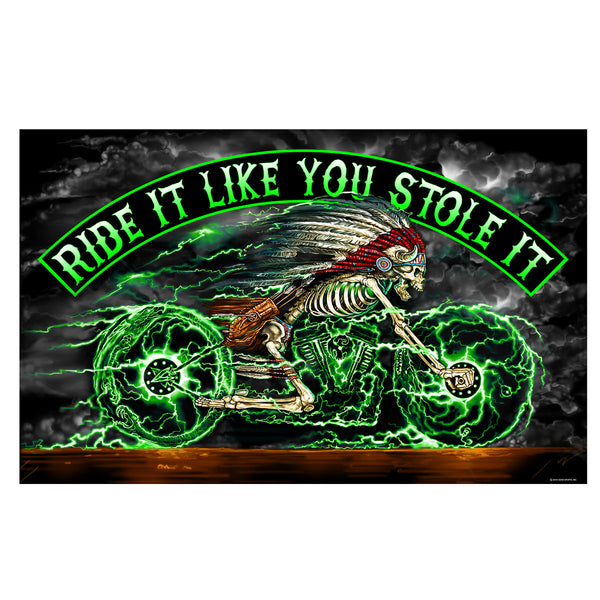 FLAG SKELCYCLE - RIDE  IT LIKE YOU STOLE IT