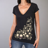 V-NECK GHOST SKULLS SHORT SLEEVE LADIES SHIRT