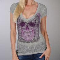 SKULL ORNAMENTAL LADIES V-NECK SHORT SLEEVE SHIRT
