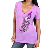 PAISLEY SUGAR SKULL LADIES V-NECK SHORT SLEEVE SHIRT