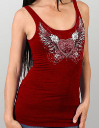 LADIES TOP TANK SPARKLE WINGS - SILVER GLITTER