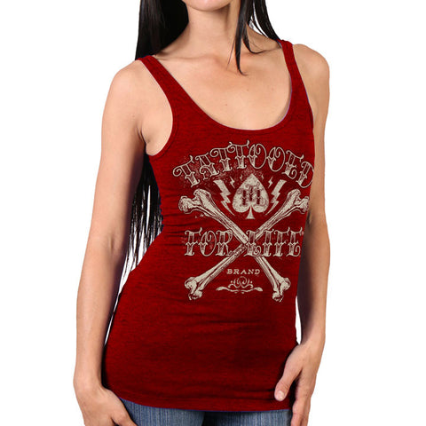 LADY TANK TOP BIG BONES TATTOOED FOR LIFE