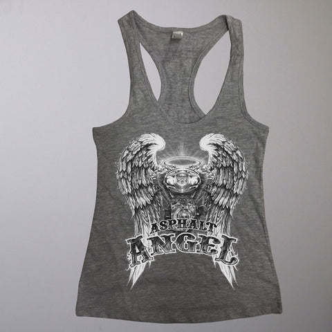 ASPHALT ANGEL LADIES RACERBACK TANK TOP