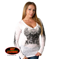 V NECK ANGEL BURNOUT LONG SLEEVE